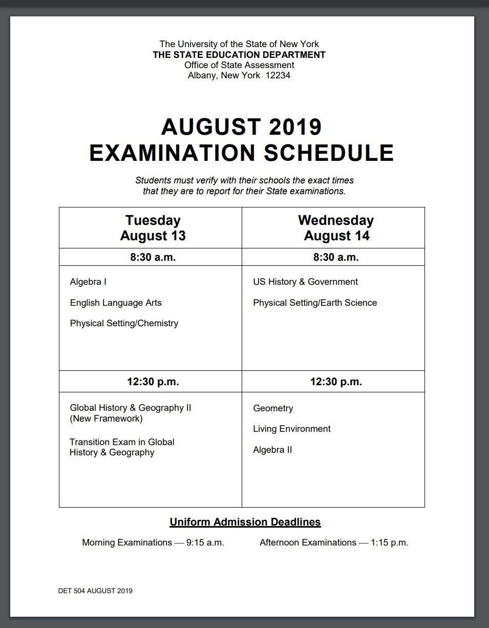 Regents Schedule 2019 BHS Summer School / Regents Exam Schedule